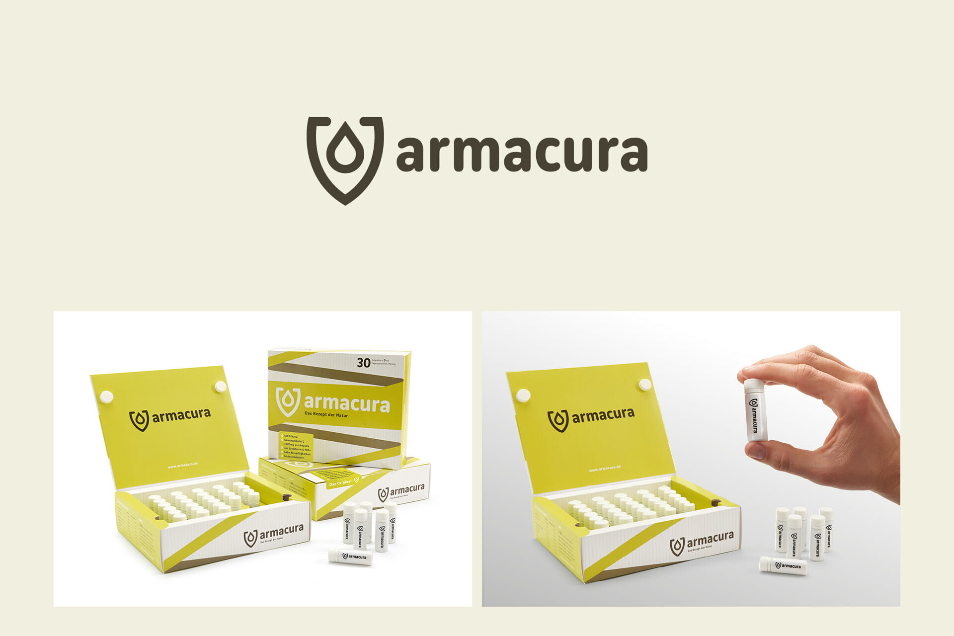 armacura Packaging offen mit Ampullen